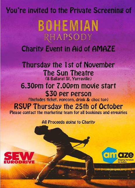 Golden Messenger | Charity Event in Aid of AMAZE Bohemian Rhapsody Private Screening 25 October 2018